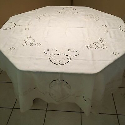 Antique Vtg Ivory Linen Tablecloth Handmade Embroidery Cut work 56x70 Rectangle
