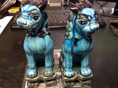 Vintage Pair Enesco Japan  Foo Dogs Chinese Statue Painted Blue Green Glaze 7.5""