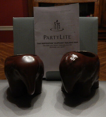 Partylite THAI inspiration Pair of ELEPHANT TEA LIGHT CANDLE HOLDERS