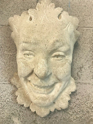 LG Vintage Concrete Garden Wall Hanging Joker Face Mask Over 25 years old, 14lbs