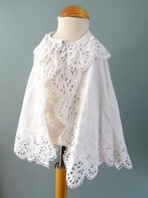Antique Victorian Baby's Christening Cape - Embroidered Whitework - c1880