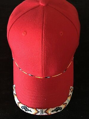 Authentic Native American Beaded Baseball Cap Red w/ White Seed Beads Bears