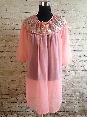 70 chiffon Vtg Duster Jacket Housecoat LINGERIE Nightgown coral pink NEGLIGEE
