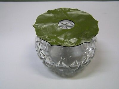 Vintage hair receiver heisey glass jar with celluloid lid vanity accessory