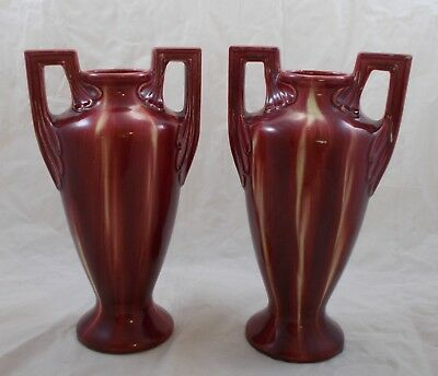 LG 627 butterfly marks - pair of vintage retro vases red and cream 31.5cm tall