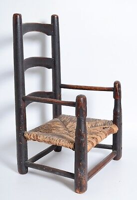 Antique 1700s New England Child's Slat back arm Chair Ladderback Primitive folk