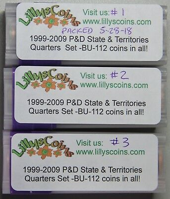 1999-2009 P & D State, DC and Territory Quarters Set-112 BU Coins!