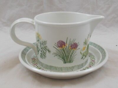 Portmeirion National Trust Garden Herbs Pat Albeck gravy / sauce boat and stand