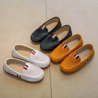Kids Boy Girls Casual Leather Peas Shoes Soft Flats Hollow breathable Loafers