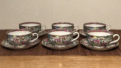 Set Of 6 Antique Famille Rose Medallion Cups and Saucers