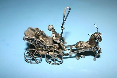 Beautiful Antique Miniature Sterling Silver Horsedrawn Wagon Surrey Carriage