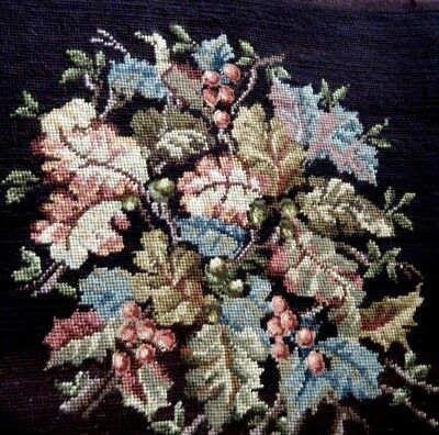 Antique Berlin Woolwork Needlepoint & petitpoint Tapestry foliage &acorns emb/ry