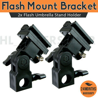2x Flash Umbrella Stand Holder Speedlight Hot Shoe Mount Bracket For Photography