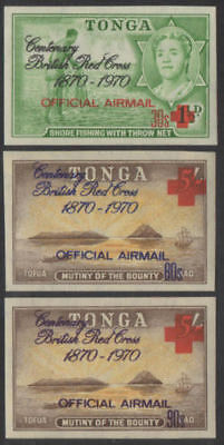 Tonga official 1970 SGO55-O57 Airmail Red Cross set MLH