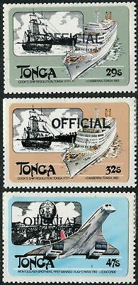 Tonga official 1980 SGO217-O219 Ships Resolution and Canberra, Concorde set MNH