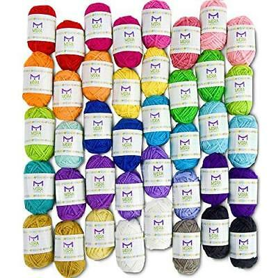 Mira Handcrafts 40 Assorted Colors Acrylic Yarn Skeins with 7 E-Books - Perfect