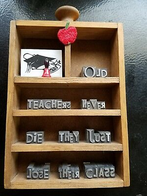 Teachers Education Wall Hanging Art Printing Lettering Foundry Type Retirement