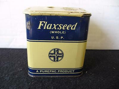 Vintage Purepac Whole Flaxseed Spice Tin with sliding lid