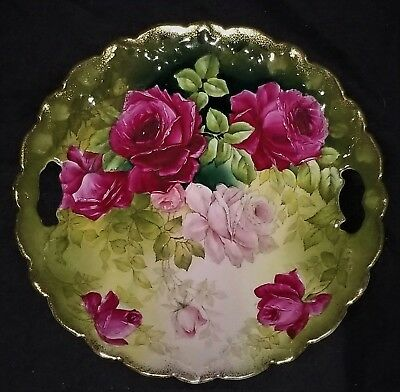 serving TRAY, cake PLATE, porcelain, open handles, Tettau, PT Germany, c1910,10""