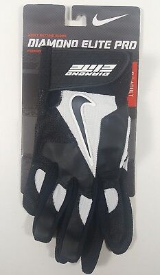 Nike Diamond Elite Pro Premier Leather Palm Batting Gloves Adult Size S Gb0335