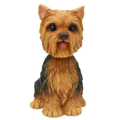 Yorkshire Terrier  Dog Hand Painted Poly-Resin Bobble Head Figurine  NEW