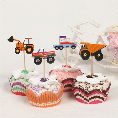 24X cartoon car truck cupcake toppers picks birthday party baby shower decor WH