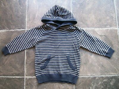 BNWT Boy's Grey & White Knitted Cotton Hoodie/Hooded Jumper Size 2