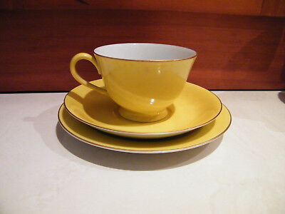 Vintage NORITAKE porcelain 'Harlequin' teacup trio yellow 1940s - Occupied Japan