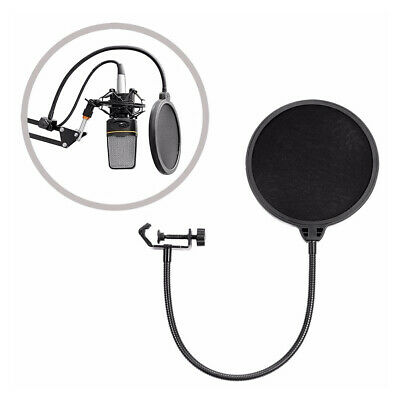 Microphone Studio Wind Screen Pop Filter Mask Shied Black
