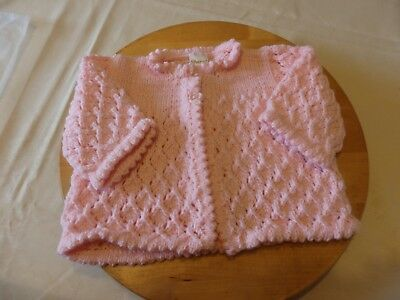 New Hand knitted baby matinee jacket - pink