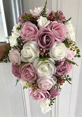 Wedding Bouquets, pink shades/Ivory or white & natural looking greenery