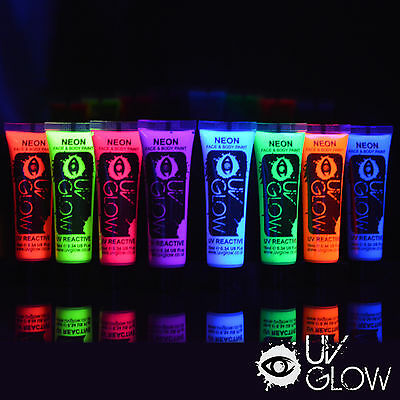 UV Glow Neon Face paint Body Paint glows fluorescent 10ml x 8 Neon colours fluo
