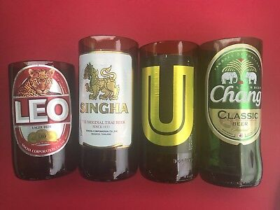 Glasses cut from Thai local beer bottle; set of 4  : Singha, Leo, U and Chang