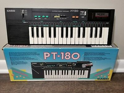 CASIO PT-180 Electronic Mini Black Keyboard Looks Great with Box and ROM Pack