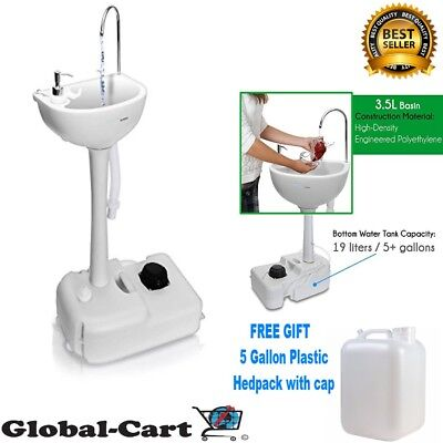 Portable Camping Sink w/ Towel Holder Soap Dispenser Rolling Wheels 19L Capacity