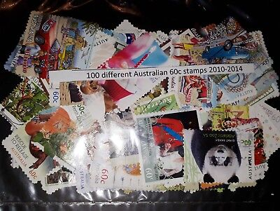 100 ALL DIFFERENT 60c AUSTRALIAN STAMPS 2010-2014. Postally used