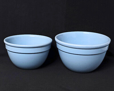 "Two Large Vintage FOWLER  POTTERY Pudding Mixing Bowls Archer Backstamp 8"" & 9"""