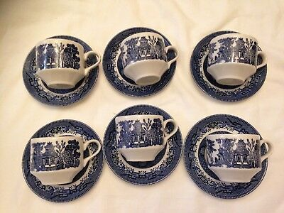 Blue Willow Churchill England Cups & Saucers