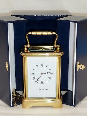 Superb Garrard 8 Day Solid Brass Carriage Mantel Mantle Clock + Display Case
