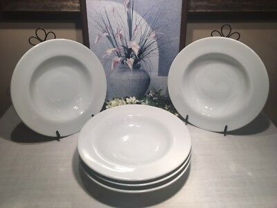 "Pottery Barn, White, Set/5, Wide Rimmed SOUP/PASTA BOWLS, 10 1/4"", Ex Use Cond!!"