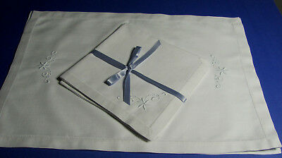Vintage White Madeira Embroidered Hemstitched Irish Linen 4 Placemats 4 Napkins