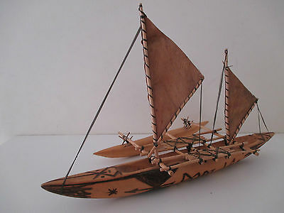 Vintage Hand Crafted Wooden Boat with Movable Sails