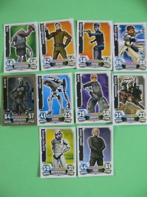 10 Star Wars Force Attax Trading Cards. Red Backs. 2012. All Different.