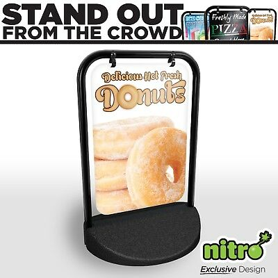 Donut Doughnut Swinging Pavement Sign Outdoor Shop A-Board Doughnuts Catering