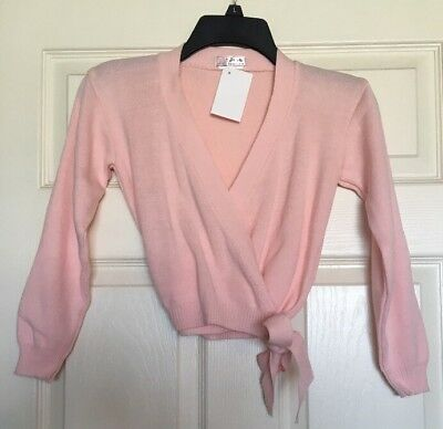 Girls Pink Dance Skating Cover-Up Wrap Sweater Child Size M/L