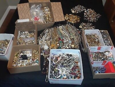 Huge Antique Vintage Now Estate Mixed Rhinestone Rings Necklaces Jewelry 20/30pc