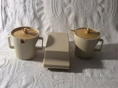 Tupperware Creamer 1414, Sugar Bowl 1415, & Butter Dish 636-6/637 Almond/Gold