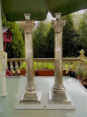 A Large Superb Matching Pair Of Silver Plate Corinthian Column Oil Lamp Bases.