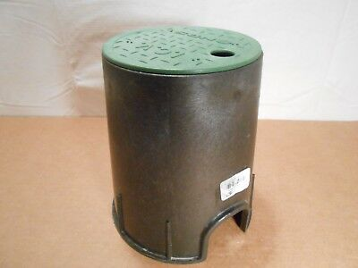 "NDS Sprinkler Valve Box, 6"" Round,9 in.H x 7-7/8 in.W, 107BC, Black/Green"