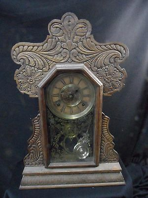 Vintage oak  gingerbread clock attic find.. ca 1890-1910